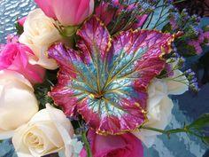 Raspberry Swirl Begonia concrete leaf by ConcreteImpressions