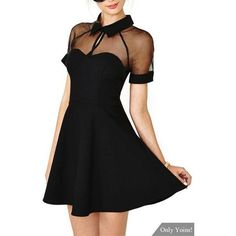 Yoins Black Chiffon Dress With Mesh Insert ($21) ❤ liked on Polyvore featuring dresses, chiffon dress, mesh inset dress, mesh insert dress, sleeve cocktail dress and sleeved dresses