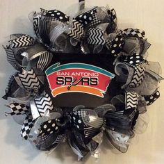 San Antonio Spurs Wreath Spurs Deco Mesh by WreathsbyKimby on Etsy