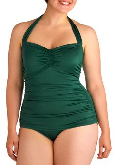 It's not black! Perfect!    Bathing Beauty One Piece in Emerald - Plus Size by Esther Williams - Green, Solid, Vintage Inspired, Halter, Summer, Pinup, Best Seller, Beach/Resort, 40s, 50s, 60s, Top Rated