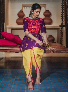 Buy Purple Khadi Navratri Special Kediya with Dhoti Salwar 141012 online at lowest price from huge collection of salwar kameez at Indianclothstore.com.