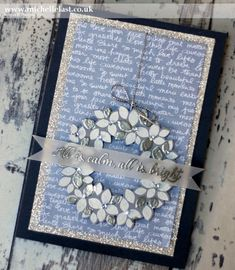 card Wondrous Wreath for Global Design Project - with Michelle Last leaf leaves berries flowers silver blue white Christmas Cards 2017, Create Christmas Cards, Christmas Paper Crafts, Xmas Cards, Handmade Christmas, Christmas Wreaths, Christmas Stuff, Wondrous Wreath, Global Design