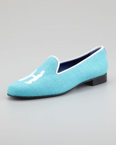Hadleigh's Audrey Linen Smoking Loafer, Turquoise/White