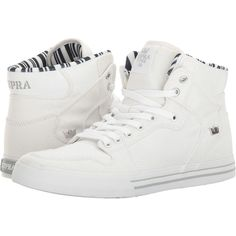 Supra Vaider (White Denim/White) Skate Shoes (295 BRL) ❤ liked on Polyvore featuring shoes, skate shoes high tops, denim shoes, white skate shoes, white high top shoes and white hi top shoes