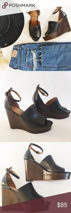 """Coach Edita Leather Wedge Heels Coach Edita Leather Wedge Heels in black featuring stacked platform heel.  Pebbled leather and boho vibes!  Adjustable ankle strap.  Pre-loved but in excellent condition.  Minimal aigns of wear, only on soles.  No other damage or signs of wear.  4.25"""" heel, offset by 1.25"""" platform.  Original box not included.   •  BUNDLE entire outfit to SAVE and GET THE LOOK!  • Coach Shoes"""