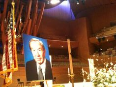 """A photo of Warren Christopher sits on stage at Disney Hall, where hundreds of people gathered to pay respects to the former secretary of state and """"leading citizen."""""""