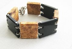 Exotic wood and buffalo horn bracelet  by NatureArtJewellery, $59.00