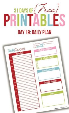 Daily Planner Printable (Day 19)--love the motivational quote at the top of this page!
