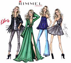 Hayden Williams Fashion Illustrations: Fashion Looks by Hayden Williams & Kate Moss for Rimmel London 'Idol Eyes' collection