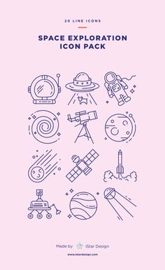 Space Exploration Icons Set made by iStar Design. Series of 20 line icons, created by influence of space exploration, science and astronomy. Neatly organized icon, file and layer structure for better workflow experience. Carefully handcrafted icons u Logo Design, Design Poster, Design Set, App Design, Icon Design, Symbol Design, Quote Design, Design Layouts, Tattoo Card