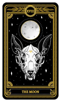 The Moon from the Major Arcana of the Marigold Tarot #PlayingCards