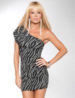 Zebra Pleated One Shoulder Mini Dress in Charcoal