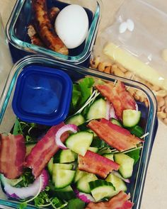 Meal prep completed! Put this together last night and this morning.  For breakfast I have 2 sausages and one hard boiled egg. For lunch I have a spring mix salad with cucumber red onion bacon cucumber and organic balsamic dressing. For my morning snack 1/4 Cup cashews. And for my afternoon snack 2 thin slices of smoked gouda. Dinner isn't shown because I didn't have to make that ahead of time. Fertility update so the doctor increased my metformin to 1000 from 500. And he has me taking…