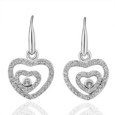 crystal pave heart tin zlloy earring 36093