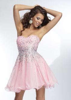 Mori Lee 9252 - Pretty in Pink Strapless Chiffon Dress - RissyRoos.com