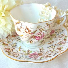 ROSINA Pink and Beige Vintage Bone China Tea Cup by HoneyandBumble