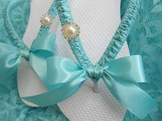 Tiffany Blue wedding shoes, Tiffany blue flip flops, decorated flip flops, maid of honor gift, rhinestone flip flops - bridal shoes via Etsy