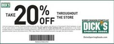 Dicks Sporting Goods Printable Coupon 20% off Entire Purchase.  This Dicks coupon has no expiration date! Pin it and share it with your friends.  For more Dicks Sporting Goods Printable Coupons go here http://www.chachingqueen.com/tag/dicks-sporting-goods/