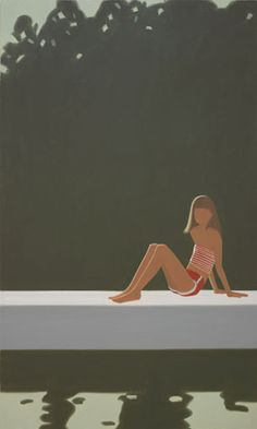 """""""Tracy On the Raft At Alex Katz, oil on canvas, 120 x Colby College Museum of Art. Figure Painting, Painting & Drawing, Colby College, Art Postal, Alex Katz, Drawn Art, New York, Artist Sketchbook, Fashion Painting"""