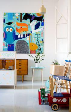 värikäs sisustus vierashuone