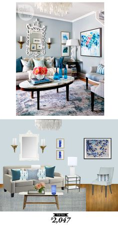 A gorgeous sky blue living room from Lindsay Mens Craig recreated by @audreycdyer for only $2047