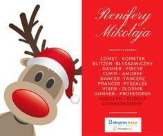 Czy znasz wszystkie imiona reniferów Świętego Mikołaja? :) #Święta #Mikołaj