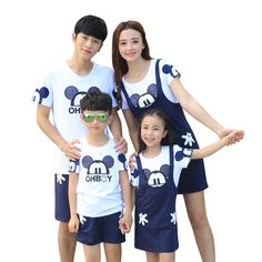 2016 Summer family look clothes outfits cartoon Fashion mother daughter shirt dress sets  girls boys kids Pants shorts sets