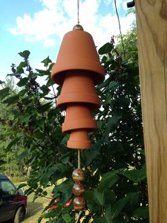 Windchime made of terra cotta pots and ceramic beads