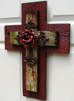 Painted Cedar Wood Rose | ... Rustic Cedar and Pink/Green Beadboard Stacked Cross with Orange Rose