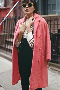 Loving this pop of pink coat to dress up casual stripes and solid trousers. It's city chic with a retro flair.