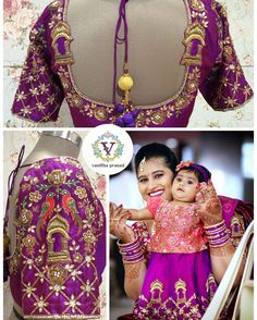 Deepika and nidhi doll sporting vanitha ethnic couture. Best Blouse Designs, Bridal Blouse Designs, Blouse Neck Designs, Blouse Desings, Mirror Work Blouse, Indie, Indian Gowns Dresses, Baby Dresses, Maggam Work Designs