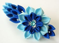 Kanzashi fabric flower french barrette. Floral french door JuLVa