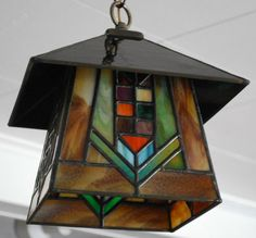 Prairie Style Stained Glass Lantern by DodgeGlassStudio on Etsy