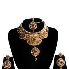 Maroon, Green and White Stone Studded Necklace Set