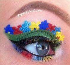 Autism puzzle eye makeup