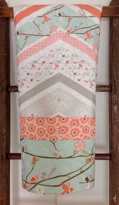 Baby Quilt Girl Woodland Cottage Coral Mint Birds by CoolSpool  $145.00
