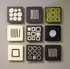 Most up-to-date Images Slab Ceramics templates Concepts Black and White and Green by Lori Katz. Slab built stoneware with slip, underglaze, stoneware inla Mini Canvas Art, Small Canvas, Ceramic Wall Art, Tile Art, Metal Art, Wood Art, Art Mini Toile, Quilt Modernen, Clay Tiles