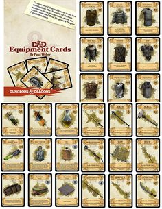 CHAMPIONS! This is an amazing job made by Paul Weber: over 300 printable cards in one free PDF, the cards contain all the basic equipment, gear, and items from the Official D&D Player's Handboo…