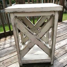 These solid wood side tables are made from all reclaimed lumber and is unique to its own marks, knot holes, nail holes, dents and scratch marks no two the same! Each set of tables are made to order an Custom Wood Furniture, Farmhouse Furniture, Pallet Furniture, Furniture Projects, Painted Furniture, Farmhouse Decor, Refinished Furniture, Rustic End Tables, Coffee And End Tables