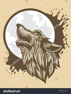 The head of a brown wolf howling to the moon.