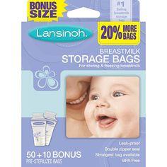 "Lansinoh Breast Milk Storage Bags - 50 Count - Lansinoh Laboratorie - Babies ""R"" Us - best storage bags - never had one leak!"