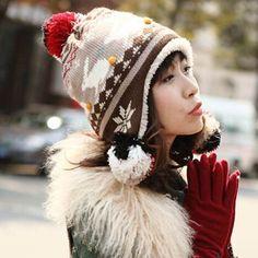 Cartoon rabbit knit bomber hat for women hairball fleece winter hats