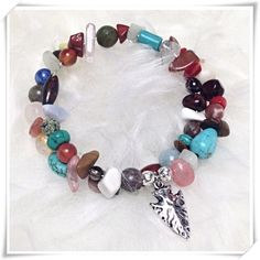 Double Wrap Gemstone Bracelet w/ Arrowhead Charm ARROWHEAD GEMSTONE WRAP BRACELET                 all gemstones - huge variety           sterling silver plated charm                               nickel free metal alloy wire                                each one is unique, handmade in USA, and one of a kind                                                            made for you with love by melaniekaren for Beauty is the Earth Beauty is the Earth Jewelry Bracelets