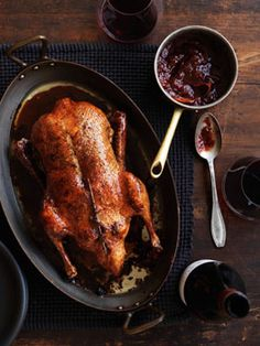 Jessica- you should make this for Christmas!! Roast Duck w/ Plum Sauce -  (Serves 6)  1 (about 2kg) duck  3 tbsp brown sugar  1 tsp ground cinnamon  Plum sauce:  500 g plums, stones removed and roughly chopped  5 tbsp brown sugar  1 cinnamon stick  Juice and zest of 1 orange  To serve: boiled basmati rice