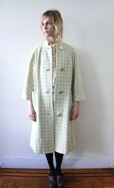 Vintage 60s Plaid Mint Green and Ivory Wool Swing Coat. $68.00, via Etsy. #womensfashion #vintage #vintagefashion #vintagetrends #fashion #style #womensstyle #vintagestyle #fallfashion