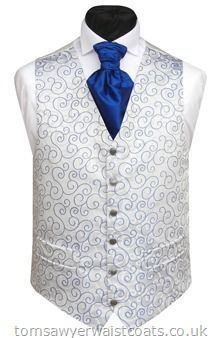 Want the guys to have a silver vest with the royal blue tie and grey suit and pants. Want black shoes, black socks and black belt.