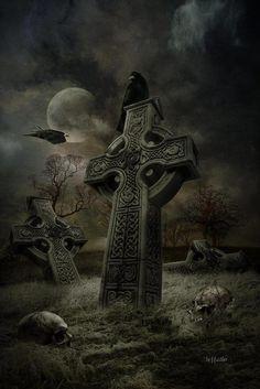 Crow Art, Raven Art, Dark Fantasy Art, Fantasy Artwork, Tatoo Art, Body Art Tattoos, Rabe Tattoo, Graveyard Tattoo, Gothic Wallpaper