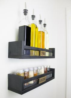 IKEA furniture popularity has been known to many people for a long time, even for a simple spice rack. Around a few years ago, IKEA spice rack has been widely Best Spice Rack, Diy Spice Rack, Spice Storage, Oil Storage, Ikea Storage, Spice Rack Plans, Ikea Spice Rack Hack, Storage Racks, Bekvam Ikea