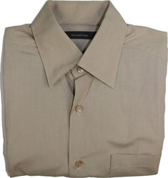 ERMENEGILDO ZEGNA MEN'S LONG SLEEVE SHIRT-BEIGE STRIPED-M-MADE IN ITALY #ErmenegildoZegna