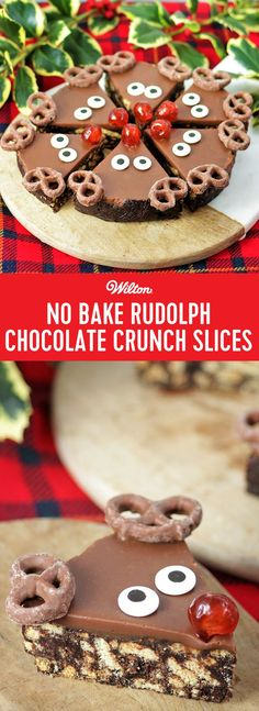 No Bake Rudolph Chocolate Crunch Slices - These super cute slices are not only delicious but super easy to make, with no baking needed. Why not leave one of these for Santa to eat of Christmas eve? These can either be made in one tin, to make 6 very generous portions or alternatively divide the mixture between 2 tins for a shallower slice. #christmas #chocolate #wiltoncakse